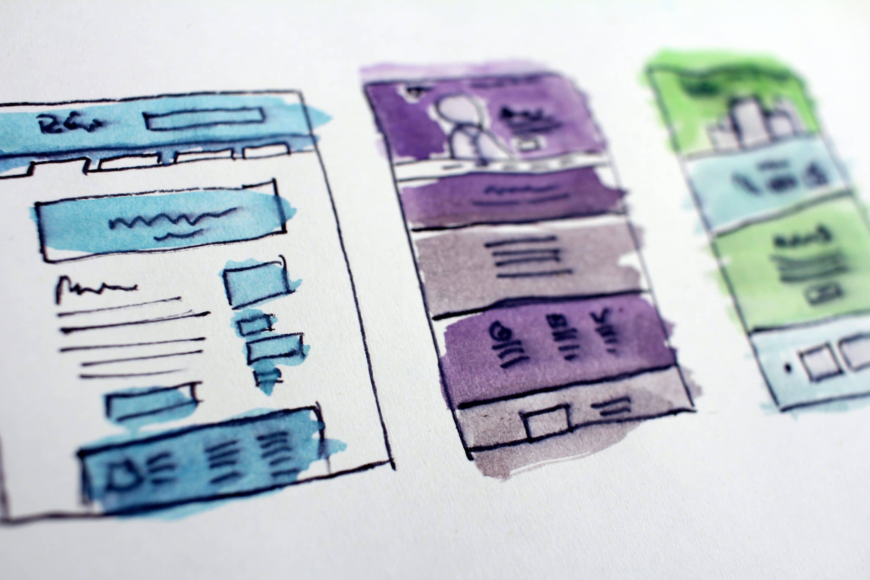 mockup drawings of website landing pages